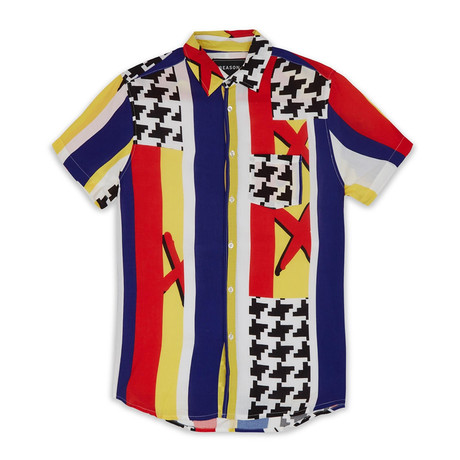 Houndstooth Woven Shirt // Multicolor (S)