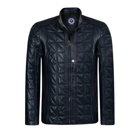 Lineout Leather Jacket // Navy (XS)