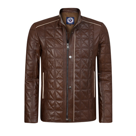 Lineout Leather Jacket // Brown (XS)