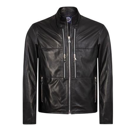 Block Leather Jacket // Black (XS)