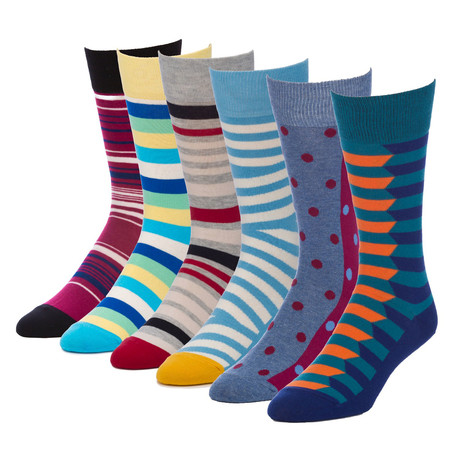 Bold Mirror Crew Sock // Pack of 6