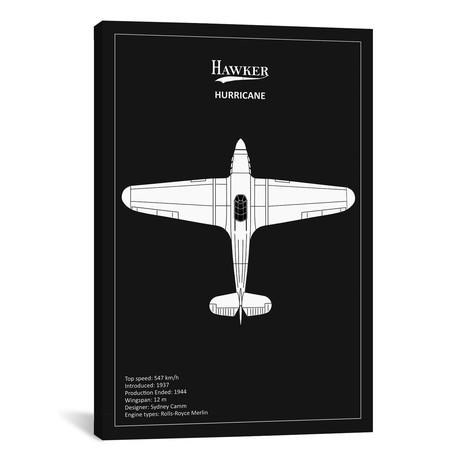 "BP Hawker Hurricane Black // Mark Rogan (12""W x 18""H x 0.75""D)"