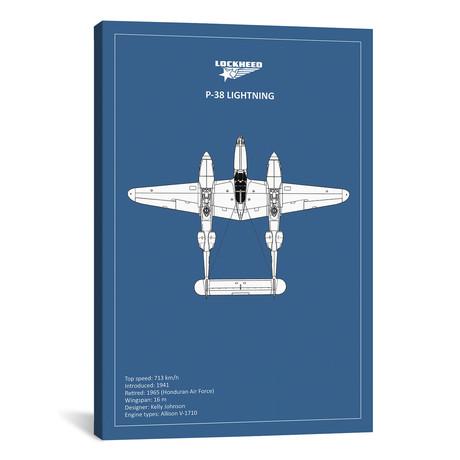 "BP Lockheed P38 Lightning // Mark Rogan (12""W x 18""H x 0.75""D)"