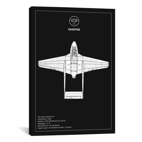 "BP de-Havilland Vampire Black // Mark Rogan (12""W x 18""H x 0.75""D)"