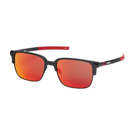 Ducati // Men's Square Sunglasses // Matte Black + Red