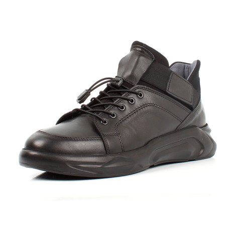 Mid-Top Leather Sneakers // Black (Euro: 39)