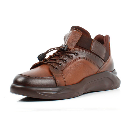 Mid-Top Leather Sneakers // Brown (Euro: 39)