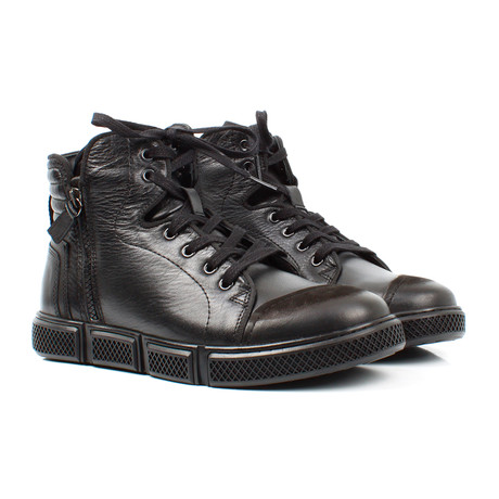 High-Top Zipper Sneakers // Black (Euro: 40)