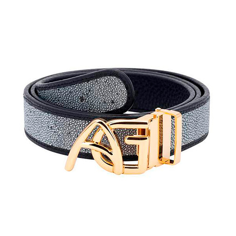 Exotic Stingray Belt // Silver + Gold Buckle