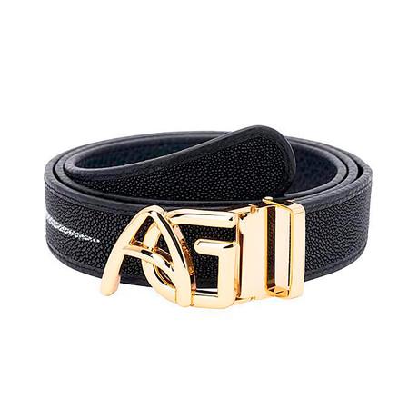Exotic Stingray Belt // Black + Gold Buckle