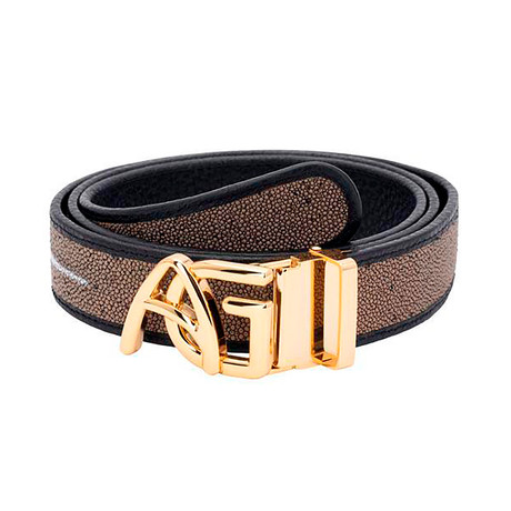 Exotic Stingray Belt // Taupe + Gold Buckle