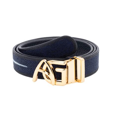 Exotic Stingray Belt // Navy Blue + Gold Buckle