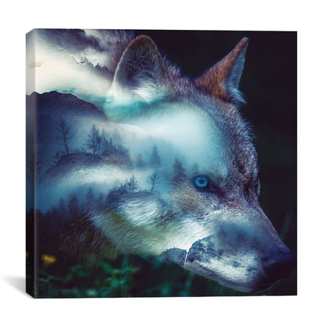 """Forest Wolf (12""""W x 12""""H x 0.75""""D)"""