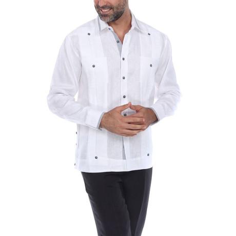 Guayabera Long Sleeve Shirt // White (S)