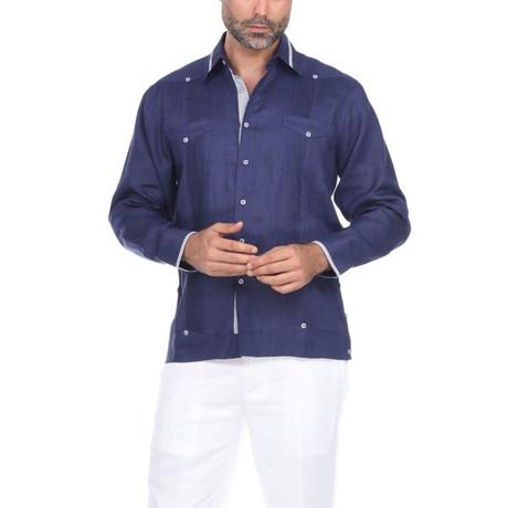 Guayabera Long Sleeve Shirt // Navy (S)