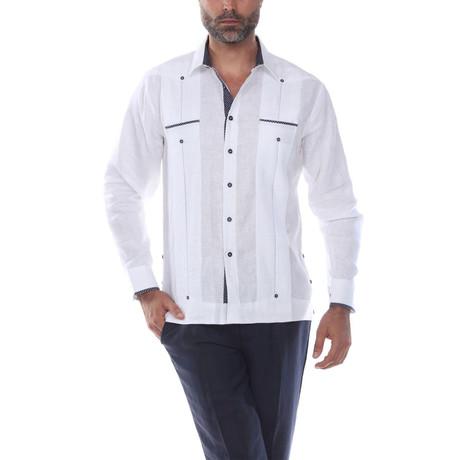 Guayabera Long Sleeve Shirt // White II (S)