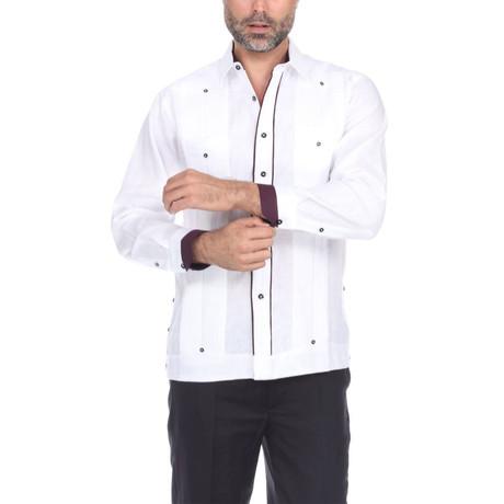 Guayabera Long Sleeve Shirt // White III (S)