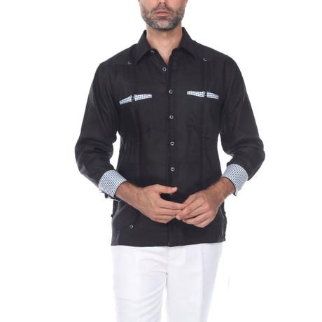 Guayabera Long Sleeve Shirt // Black II (S)