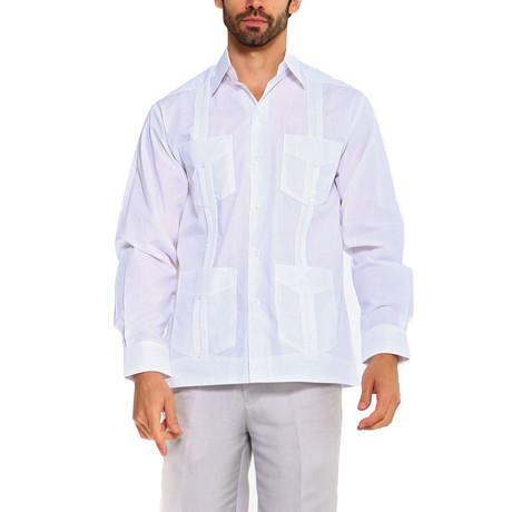 Classic Guayabera Long Sleeve Shirt // White (S)