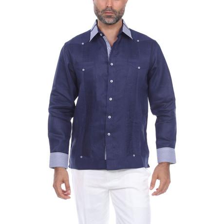 Guayabera Long Sleeve Shirt // Navy II (S)