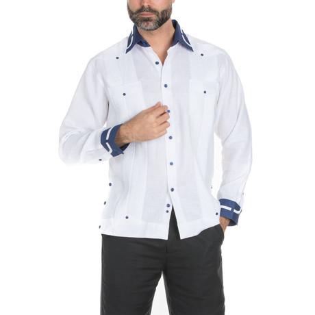Linen Guayabera Long Sleeve Shirt // White (S)