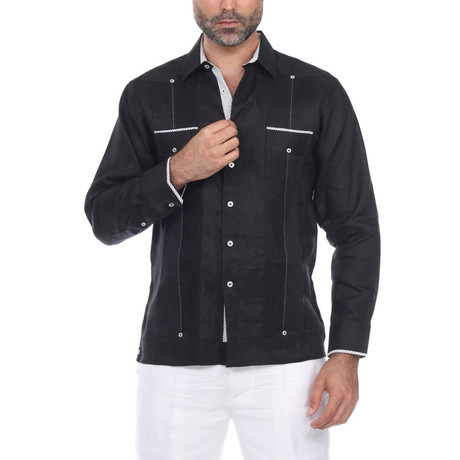 Guayabera Long Sleeve Shirt // Black (S)