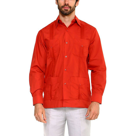 Classic Guayabera Long Sleeve Shirt // Rust (S)