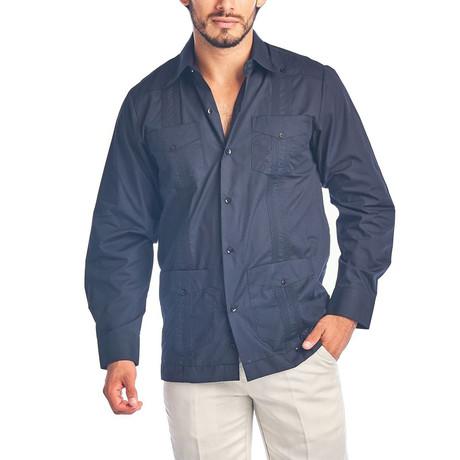 Classic Guayabera Long Sleeve Shirt // Black (S)
