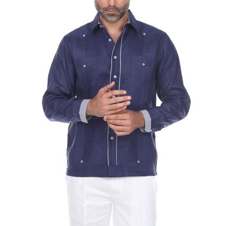 Guayabera Long Sleeve Shirt // Navy III (S)