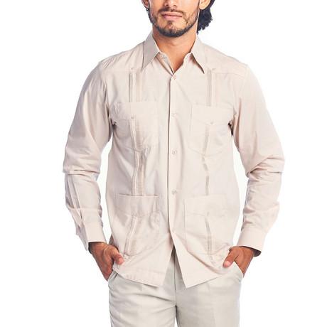 Classic Guayabera Long Sleeve Shirt // Khaki (S)