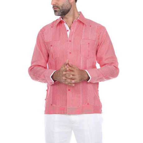 Guayabera Long Sleeve Shirt // Red Stripe (S)