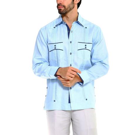 Trim Guayabera Long Sleeve Shirt + Polka Dot // Sky Blue (S)