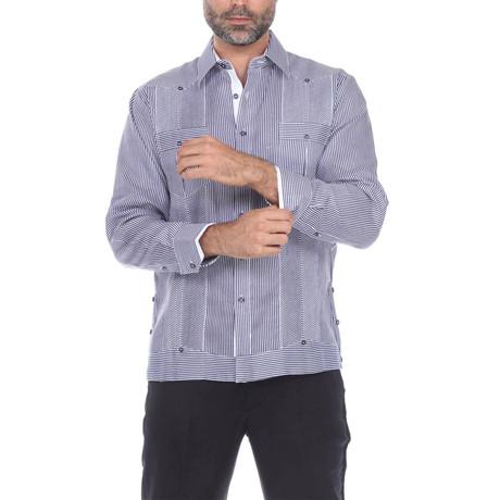 Guayabera Long Sleeve Shirt // Navy Stripe (S)