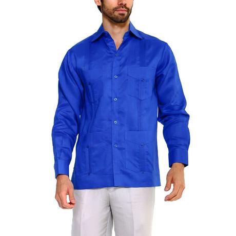 Classic Guayabera Long Sleeve Shirt // Royal (S)
