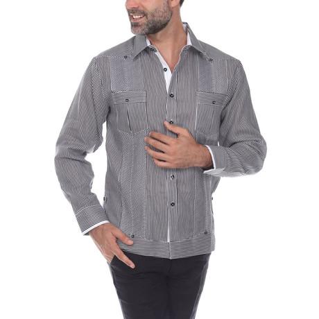 Guayabera Long Sleeve Shirt // Black Stripe (S)
