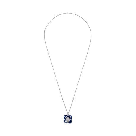 Nouvelle Bague 18k White Gold Diamond + Enamel Necklace // Pre-Owned