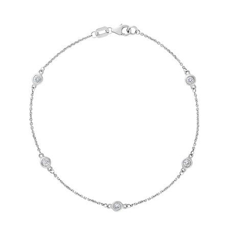 Estate 14k White Gold Diamond Bracelet // Pre-Owned