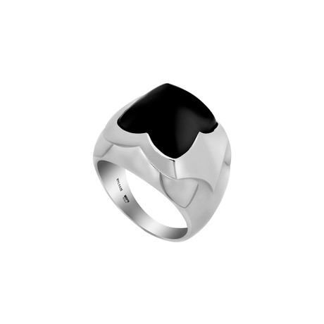Bulgari 18k White Gold Onyx Pyramid Ring // Pre-Owned (Ring Size: 4.5)