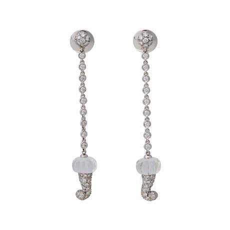 Chantecler 18k White Gold Rock Crystal + Diamond Earrings // Pre-Owned