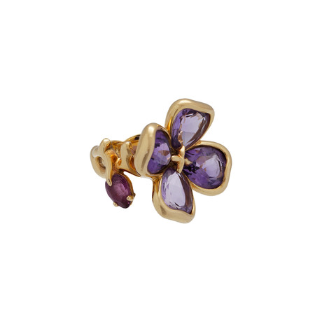 Chanel 18k Yellow Gold Amethyst + Tourmaline Flower Ring // Ring Size: 5.5 // Pre-Owned
