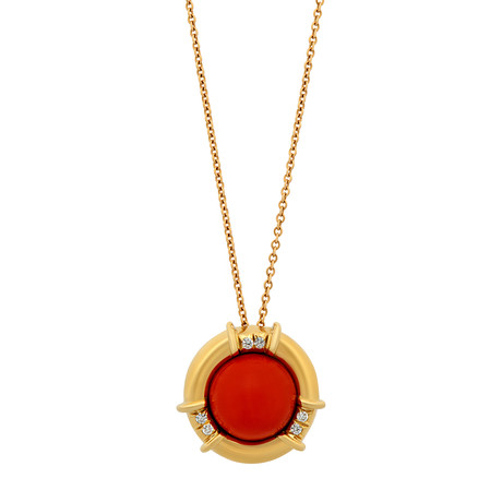 Tiffany & Co. 18k Yellow Gold Coral + Diamond Pendant Necklace // Pre-Owned