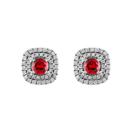 Estate 18k White Gold Diamond + Ruby Earrings // Pre-Owned