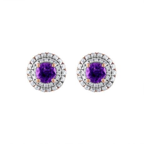 Estate 18k Rose Gold Diamond + Amethyst Earrings // Pre-Owned