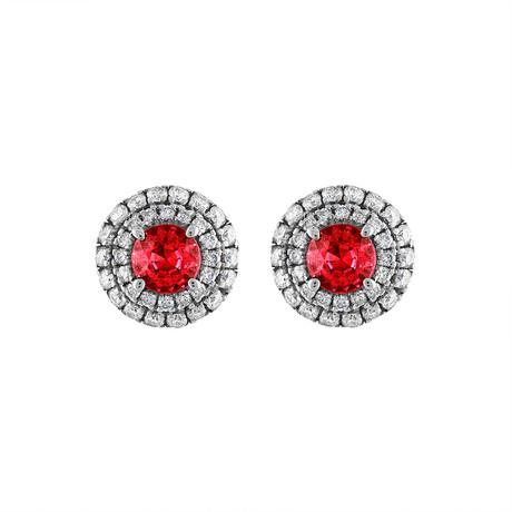 Estate 18k Rose Gold Diamond + Ruby Earrings // Pre-Owned
