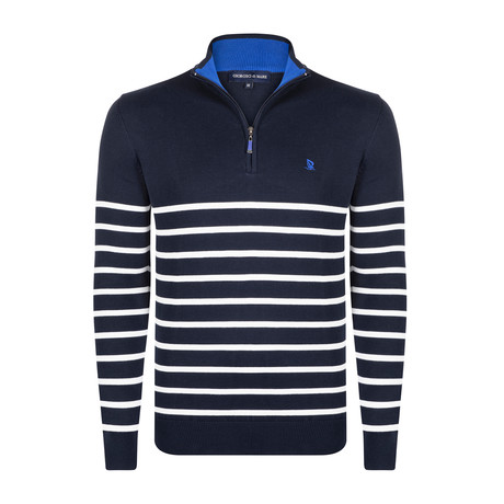 March Half-Zip Pullover // Navy + Ecru (XS)