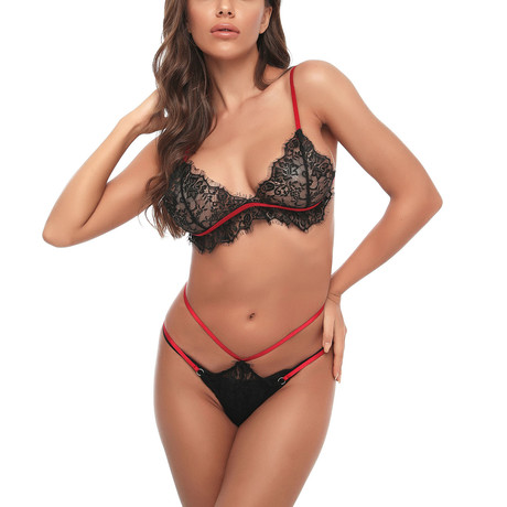 Lace Teddy + G-String // 2 Piece // Black (S)