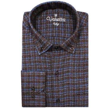 Michael Classic Fit Shirt // Brown + Blue (S)