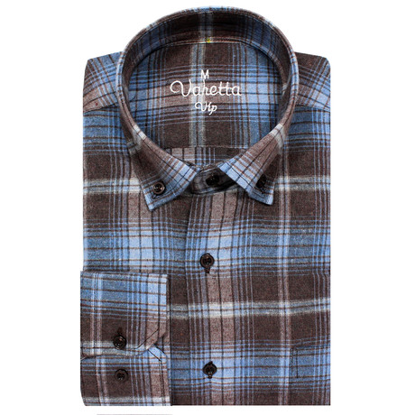 Kyron Classic Fit Shirt // Brown + Blue (S)