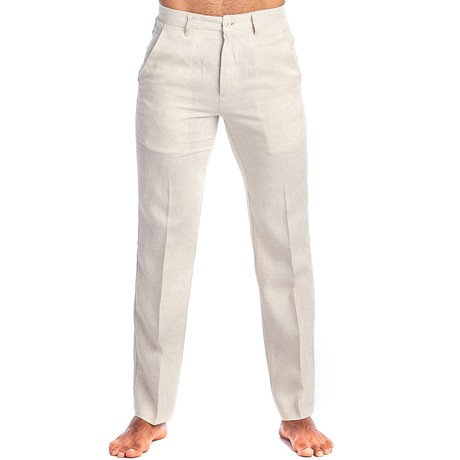 Flat Front Casual Dress Pants // Natural (30WX30L)