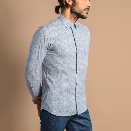 Alva Slim-Fit Shirt // White + Blue (S)